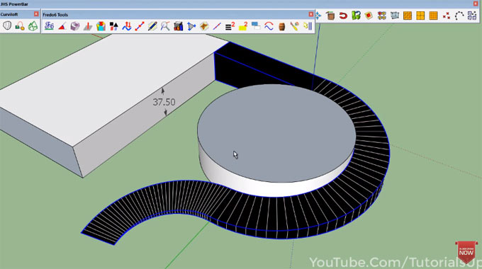 How to create curved ramp with various sketchup plugins