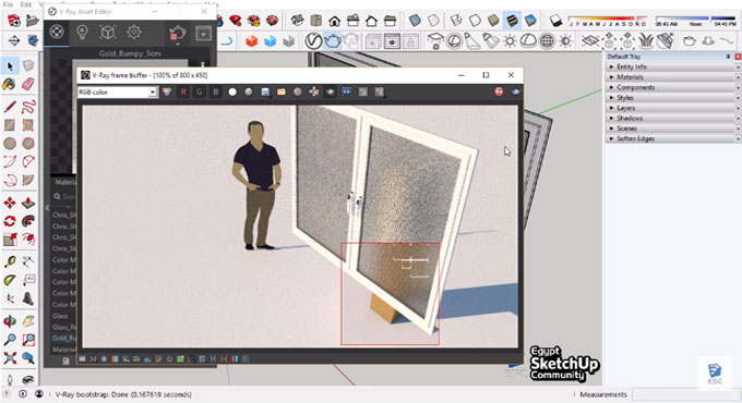 Learn to create clear glass, frosted glass & mirror with v-ray for sketchup