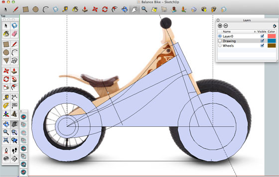 How Sketchup was used for creating the design of a wooden bycle
