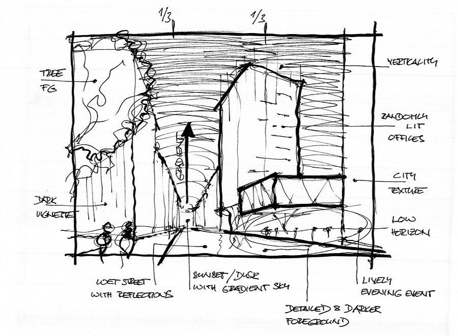 Photoshop Breakdown: modern office building :: SketchUp 3D