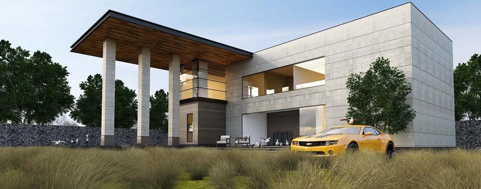 Free 3D Models  HOUSES  VILLAS  CONCRETE MODERN HOUSE