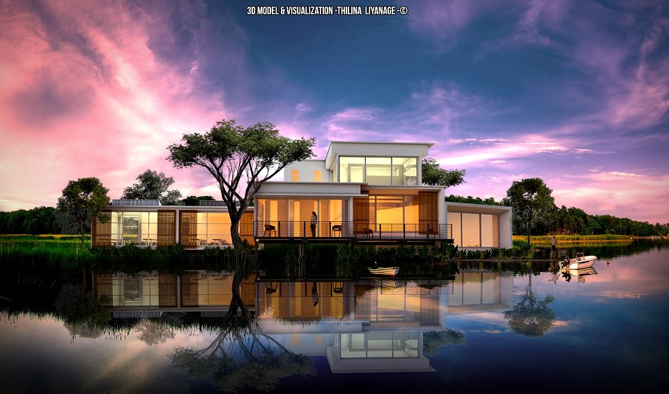 Free 3D Models  HOUSES  VILLAS  LAKE FRONT HOUSE