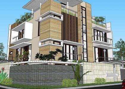 Free 3D Models  HOUSES  VILLAS  MODERN TWO FAMILY HOUSE