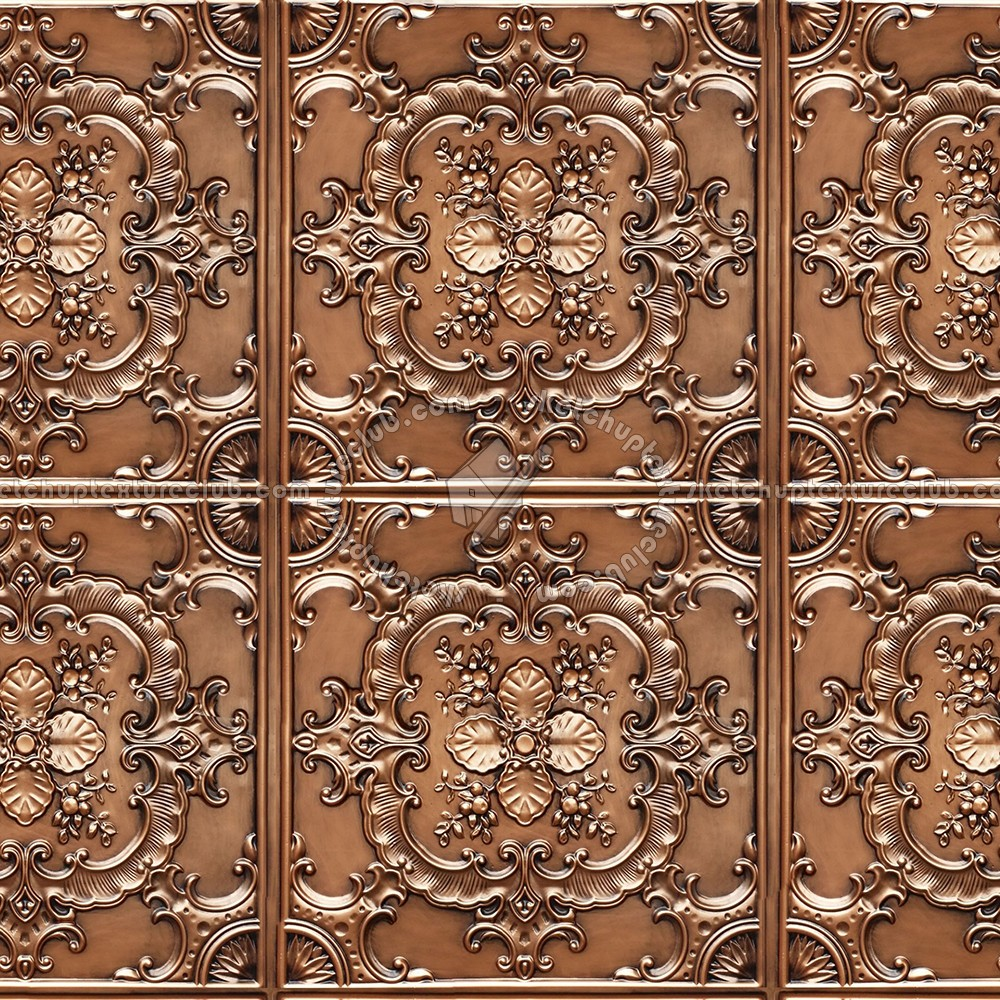 Ceiling copper metal panel texture seamless 10393