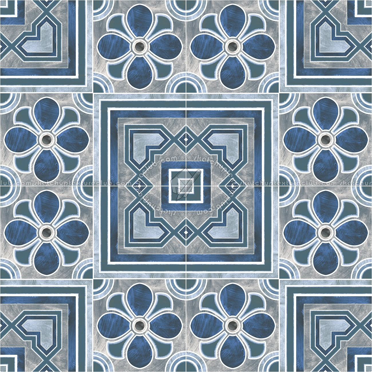 Traditional Encaustic Cement Ornate Tile Texture Seamless