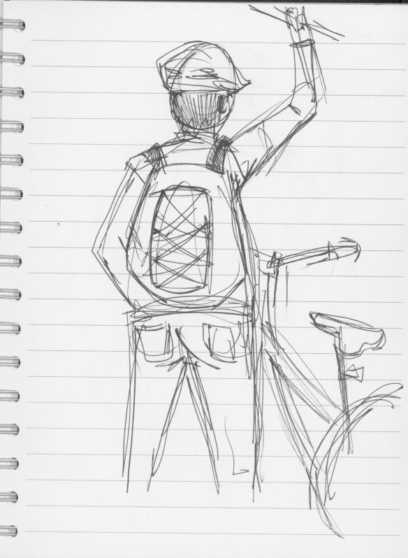 Guy holding onto BART with bike