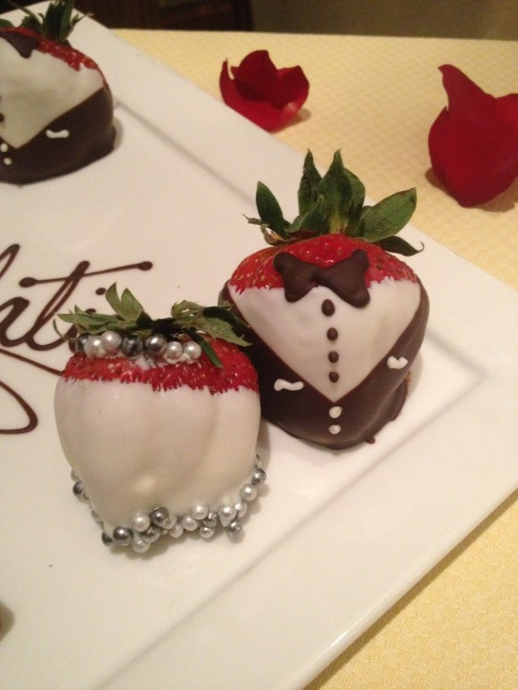 Bride and groom chocolate-covered strawberries