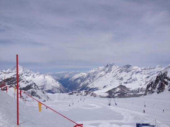 You can ski and see into Switzerland from the top of the Plateau Rosa cable car.