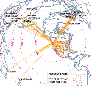 Vancouver is accessible from 10 European cities and 11 Asian cities.