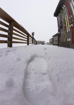 snowy footprints corbets cabin