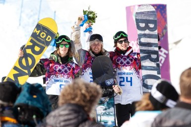 All three Olympic slopestyle medalists Staale Sandbech, of Norway (left), Sage Kostenburg, of the U.S. (center) and Mark McMorris, of Canada (right) will be aiming to add to their medal collection at the 2015 X Games Aspen. Sarah Brunson/U.S. Snowboarding