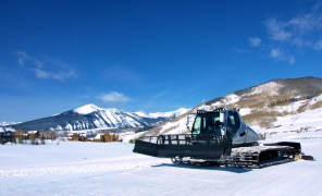 Snowcat driving in Crested Butte