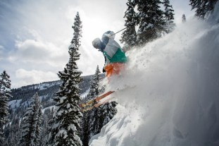"""""""There are some definite no fall zones above cliffs that do get hucked from time to time,"""" says Snowmass ski patroller Delfo 