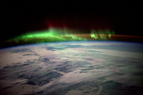 The Northern Lights over a snowy section of Canada. | Photo: Scott Kelly, NASA