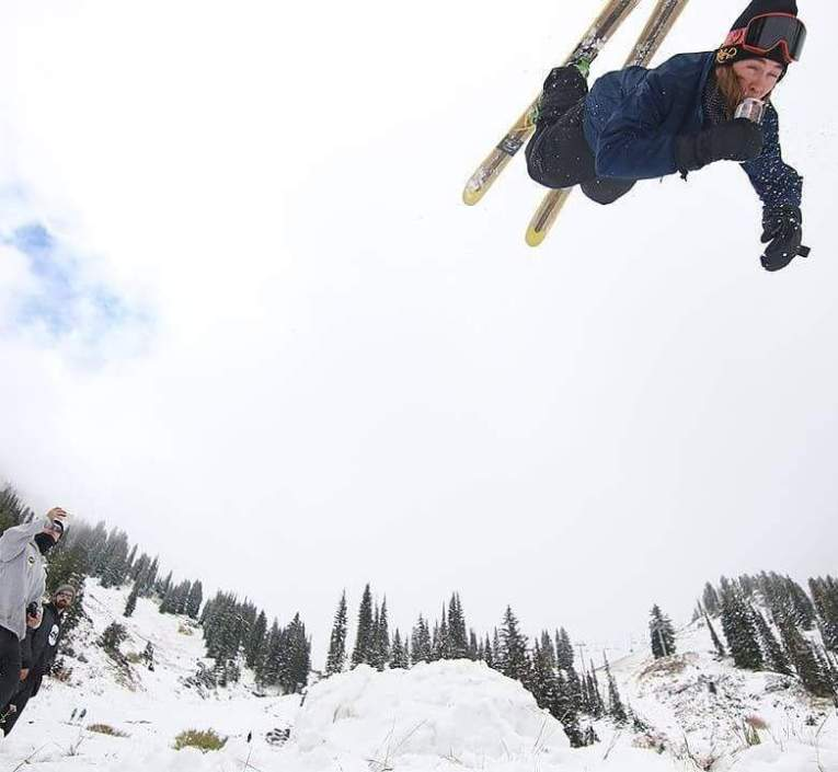 Alta skiers celebrated the first big storm of the season | Photo: @rockomenzyk on Instagram, posted by Alta Ski Resort