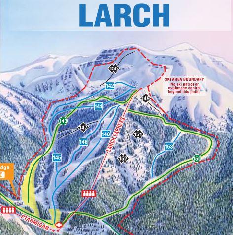 Larch trail map Lake Louise ski resort