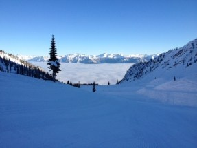 A view of the mountains from Kicking Horse's green run, It's a Ten.