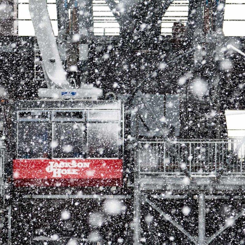 Jackson Hole snow, snowy tram Jackson Hole