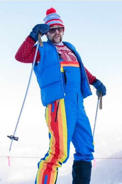70s rainbow vest, 70s retro ski vest