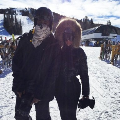 kim kardashian skiing, kim kardashian in park city, kayne west in park city