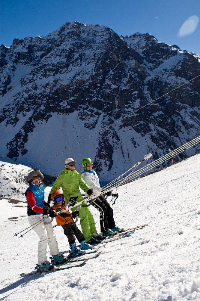 Barbara Sanders and her son Micah skiing at Portillo, Chile on August 30, 2010, portillo chile