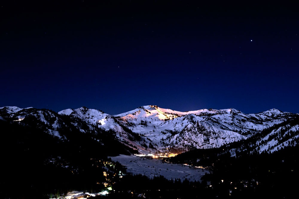 night skiing Squaw