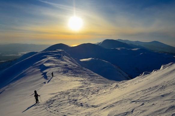 hiking to powder at Niseko Ski Resort