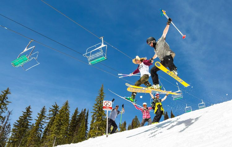 skiers having fun at red mountain ski resort