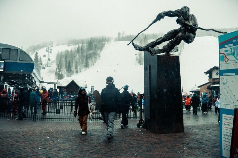 Vail Gondola One, Vail skier statue, Vail ski racing statue