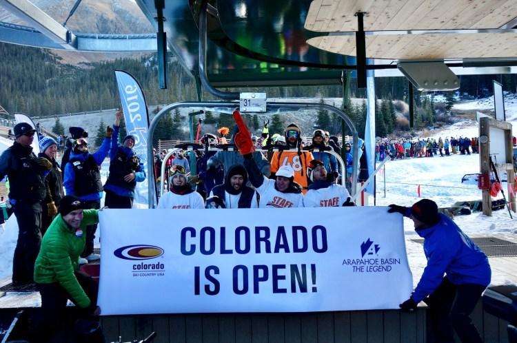 Ski season opening day in Colorado