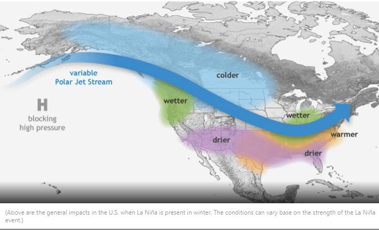 Winter forecast 2021-2022   La Nina Trends, Forecast map