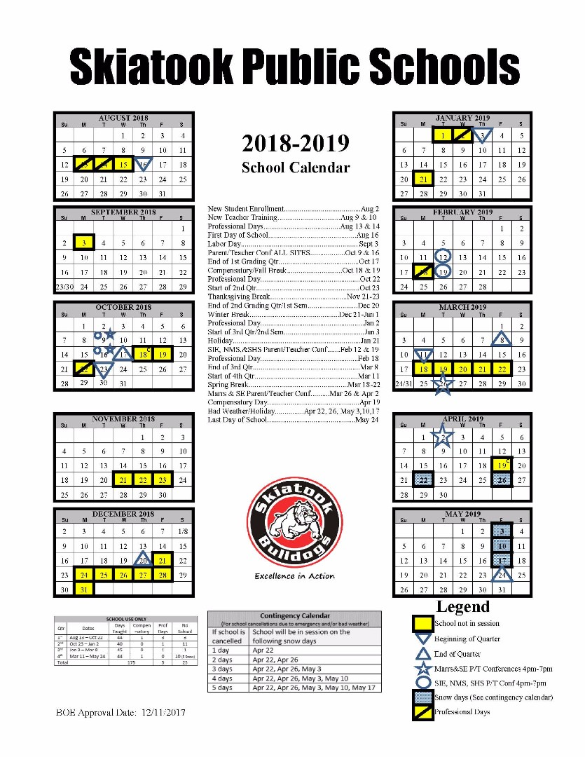 Skiatook Public Schools - District Calendar
