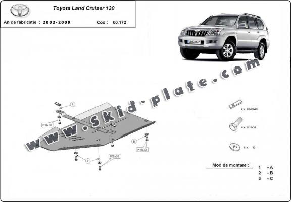 Steel gearbox skid plate for Toyota Land Cruiser
