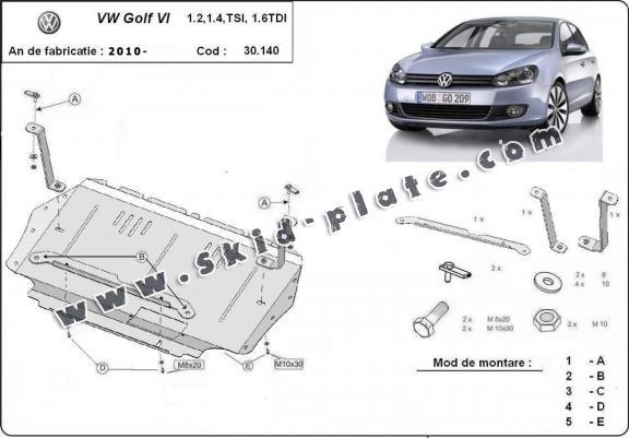 Steel skid plate for VW Golf 6