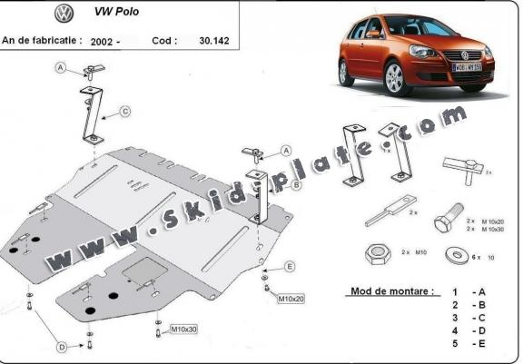 Steel skid plate for VW Polo