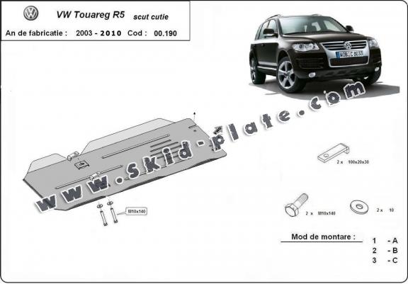 Steel gearbox skid plate for VW Touareg R5