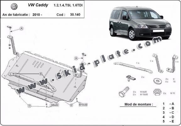 Steel skid plate for Volkswagen Caddy