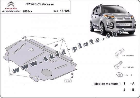 Steel skid plate for Citroen C3 Picasso