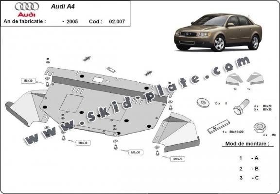 Steel skid plate for Audi A4 2