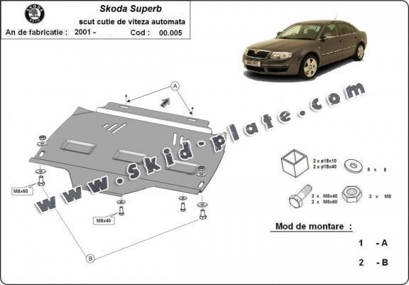 Steel automatic gearbox skid plate forSkoda Superb
