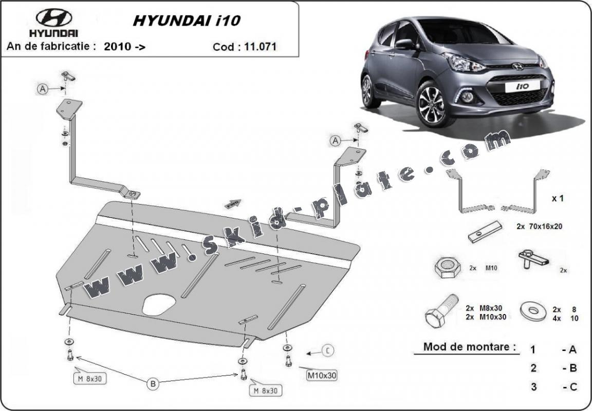 Steel skid plate for Hyundai i10