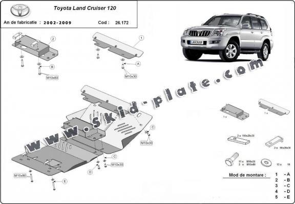 Steel skid plate for Toyota Land Cruiser