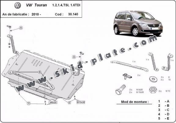 Steel skid plate for Volkswagen Touran