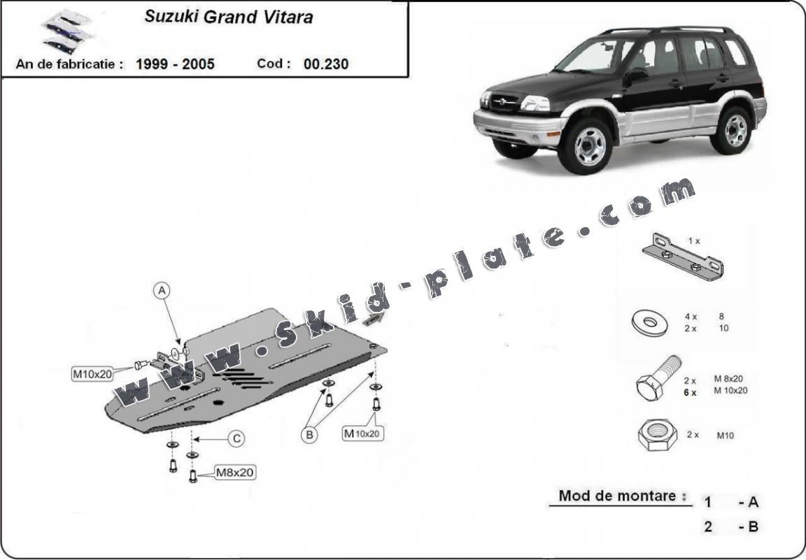 Steel gearbox skid plate for Suzuki Grand Vitara