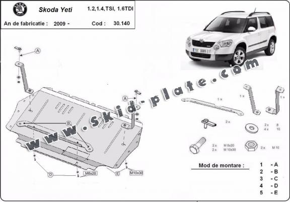 Steel skid plate for the protection of the engine and the