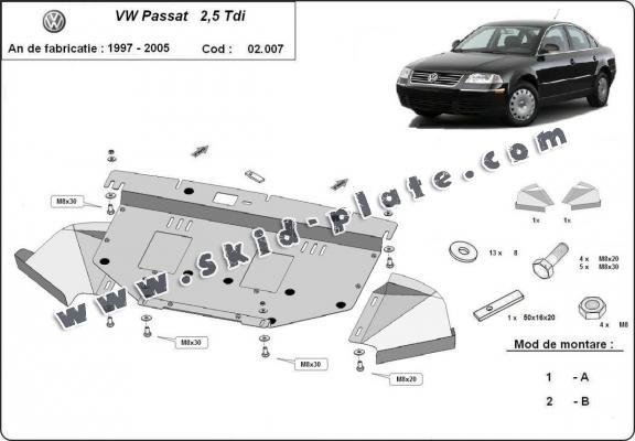 Steel skid plate for VW Passat