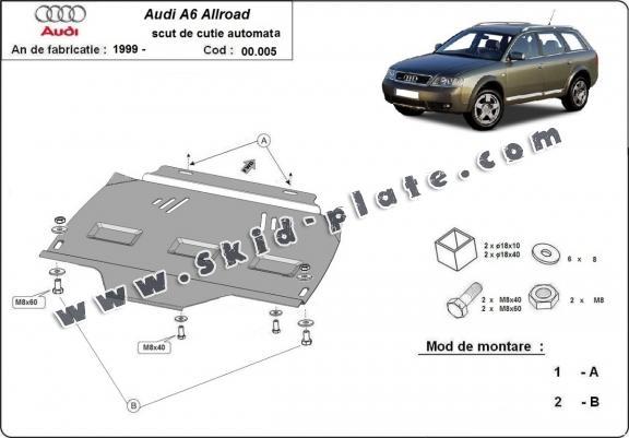 Steel automatic gearbox skid plate forAudi Allroad