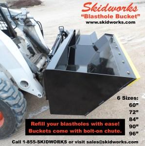 skid steer, blasthole, blasting company bucket, demolition
