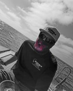 "#vcgurlz.fishn Staff ""Blake B."" Wearing ""Red Skulls"" VCGurlz Face Protector. Fis…"