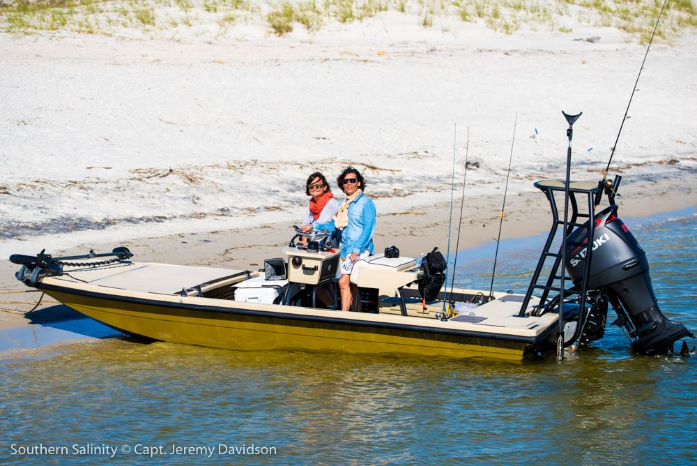 Fishing from a Rocky Creek skiff with Southern Salinity Guide Service.
